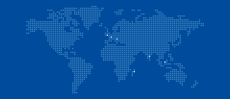 Nous avons développé diverses illustrations pour Activeo, comme ici, cette carte du monde indiquant les différentes implantations de l'entreprise