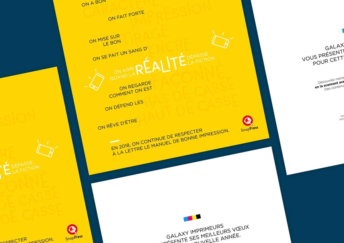Une carte de vœux qui joue avec le lexique du milieu de l'imprimerie