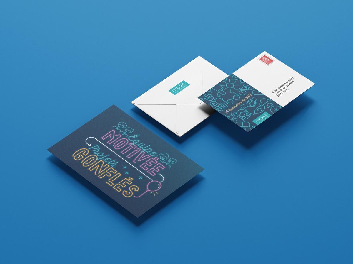 Accompagnant la carte de vœux, une enveloppe reprenant la thématique néon
